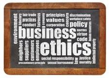 Business ethics word cloud. On a vintage blackboard stock photos