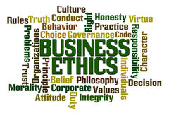 Business Ethics. Word Cloud on White Background Royalty Free Stock Photography