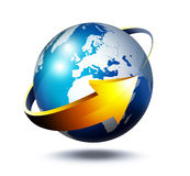 Business on Europe. Business concept in Europe - glass globe with arrow royalty free illustration