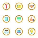 Business event icons set, cartoon style. Business event icons set. Cartoon set of 9 business event vector icons for web isolated on white background Royalty Free Stock Photos
