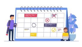 Business event planning, reminders and schedules. Concept busin. Ess people, business man with pencil. Illustration stock illustration