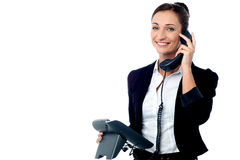 Business executive answering client's call Royalty Free Stock Image