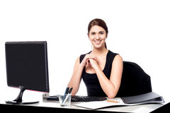 Business executive at her work desk Royalty Free Stock Images