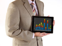 Business executive making presentation using tablet computer. Corporate executive making a business presentation using mobile technology and tablet computer royalty free stock image
