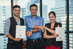 Business executive management having congratulation to executive staff who get award with certificate. Of excellence stock photos