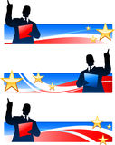 Business executive with patriotic banners Stock Photo