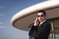 Business executive on phone. Royalty Free Stock Image