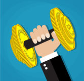 Business executive power lifting barbell. Made of golden coin. business financial strength and financial health. vector illustration in flat design on blue Royalty Free Stock Images