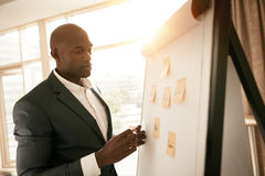 Business executive presenting his ideas on white board. African businessman standing by a whiteboard with sticky notes. Young business executive presenting his Royalty Free Stock Photos