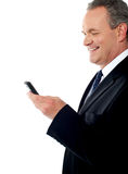 Business executive reading text sms Royalty Free Stock Image