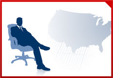 Business executive on US map background Stock Images