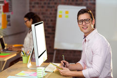 Business executive using graphic tablet Royalty Free Stock Photo