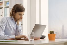 Business executive working with a laptop and connecting online royalty free stock images