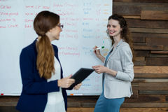 Business executive writing on white board while interacting with a woman Stock Images