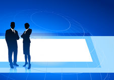 Business executives on blue internet background Royalty Free Stock Photo