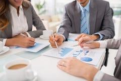 Business executives discussing work stock photos