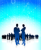 Business executives with global financial team