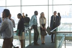 Business executives interacting with each other in office. Front view of smiling diverse business executives interacting with each other in office lobby royalty free stock images