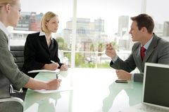 Business executives meeting. Business managers at a meeting in board room royalty free stock photo