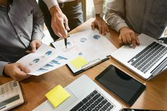Business executives Team Meeting Brainstorming Working and marketting Concept.  royalty free stock photos