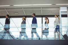 Business executives with trolley bag walking in the corridor. At office Royalty Free Stock Image