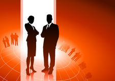 Business Executives With Global Financial Team Stock Photography