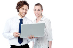 Business executives working on laptop Royalty Free Stock Photo