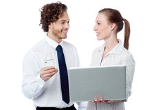 Business executives working on laptop Stock Image