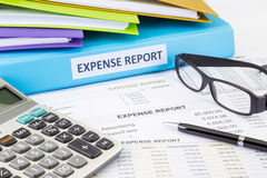 Business expense report with binder Stock Photography