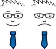 Business Face Happy Sad. Businessmans face with glasses. One happy one sad Stock Photo