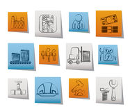 Business, factory and mill icons Royalty Free Stock Photos
