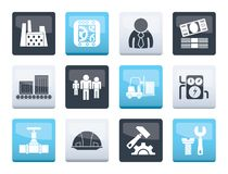 Business, factory and mill icons over color background. Vector icon set vector illustration