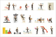 Business Fail And Manager Suffering Loss And Being In Debt Set Of Buncrupcy And Company Failure Vector Illustrations. Businessman Failing And Being Devastated stock illustration