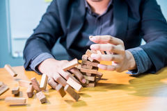 Business fail and unsuccess. Businessman, goal and success concept, game building Stock Photos