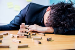 Business fail and unsuccessfull. Businessman, goal and success concept, game building Stock Photography