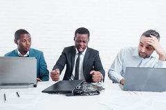 Business failed. Furious manager in company office royalty free stock images