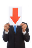 Business failure. Businessman showing arrow for failure in business Stock Images