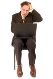 Business failure. Businessman failure: receiving bad news on computer Stock Image