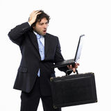 Business Failure. For businessman with briefcase and laptop Stock Images