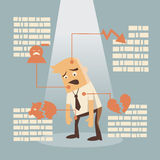 Business failure. Businessman failure concept on bule background Royalty Free Stock Image