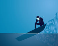 Business Failure Businessman Concept. Vector illustration. Business failure concept. Businessman frustrated sad thinking of his loss while sitting on the edge of vector illustration