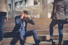 Business failure concept : businessman stressed sitting ,problem. Life balance ,selective focus Royalty Free Stock Image
