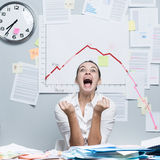 Business failure with negative chart royalty free stock image