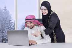 Business family using laptop at home Royalty Free Stock Images