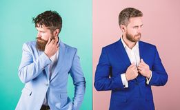 Business fashion luxury menswear. Formal outfit for manager. Businessman stylish appearance jacket pink blue background royalty free stock photos