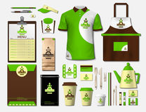 Business fastfood corporate identity items set. Vector fastfood Color promotional uniform, apron, menu, timetable. Coffee cups design with logos. Work Stuff Stock Photos