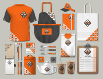 Business fastfood corporate identity items set. Vector fastfood orange Color promotional uniform, apron, menu, timetable. Business fastfood corporate identity Stock Images