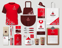 Business fastfood corporate identity items set. Vector fastfood red Color promotional uniform, apron, menu, timetable. Business fastfood corporate identity items Royalty Free Stock Photos