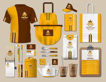 Business fastfood corporate identity items set. Vector fastfood yellow Color promotional uniform, apron, menu, timetable. Business fastfood corporate identity Stock Photography