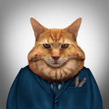 Business Fat Cat. Character as a feline tycoon businessman character as a symbol for a wealthy boss or a greedy and selfish magnate owner Stock Images